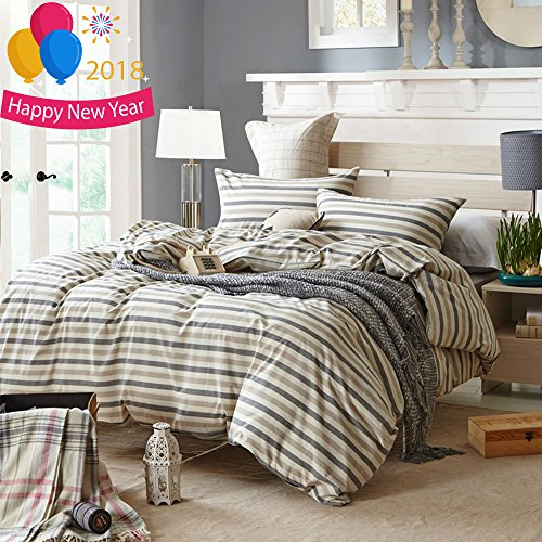 Twin Handled (Luxury Striped Duvet Cover Set Twin Hotel Soft Washed Cotton Duvet Comforter Cover Set 3 Piece Boys Girls Bedding Set 1 Duvet Cover with 2 Pillow Shams Super Soft Twin Duvet Cover Set for Kids Adults)