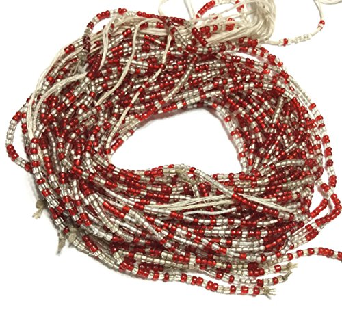 VIntage Transparent Red Clear multi waist seed Beads Glass African Trade ()