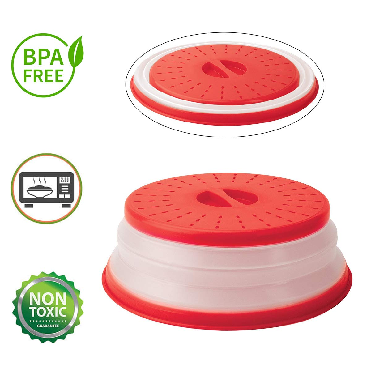 "ANTEER Microwave Plate Cover 10.5"" Collapsible Food Plate Lid Cover - BPA Free, Easy Grip, Microwave Plate Guard Lid with Steam Vent & Colander Strainer for Fruit  (Red)"