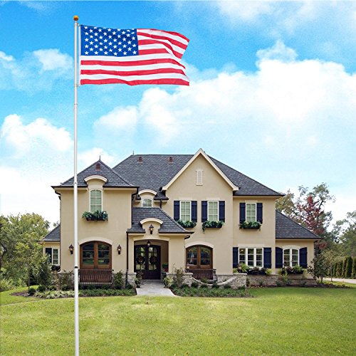 VINGLI Upgraded Aluminum Flagpole, Heavy Duty Outdoor Halyard Flag Pole, Durable Kit Free with 3'x5' USA American Flag Fly 2 Flags, for Residential or Commercial (Telescopic 25FT)