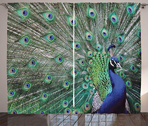 Ambesonne Peafowl Feathers Decor Collection, Majestic Peacock Picture Pattern, Window Treatments, Living Kids Girls Room Curtain 2 Panels Set, 108 X 84 Inches, Green Blue Brown Olive