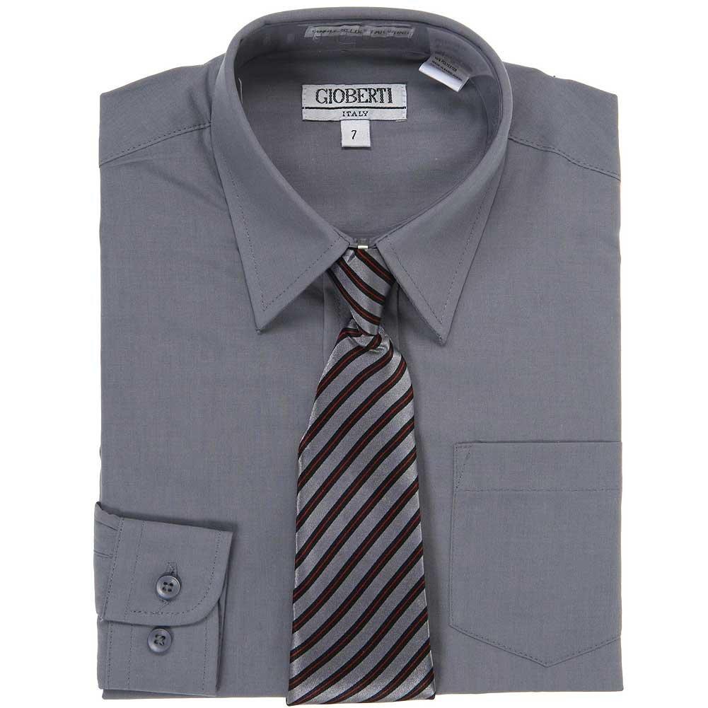 Amazon Dark Grey Button Up Dress Shirt Grey Stripe Tie Set