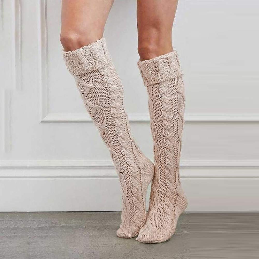 ab353a7800a Amazon.com  Quelife Women Christmas Warm Thigh High Long Stockings Knit  Over Knee Woolen Socks (Beige12