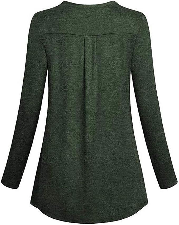 LUCKYCAT Camiseta sólida con Cuello en V de Manga Larga para Mujer ...