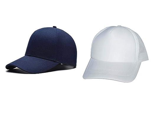 8652f7b04b Babji Combo Blue Cotton   White Half Netted Baseball Cap  Amazon.in ...