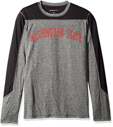 NCAA Washington State Cougars Men's Paneled Long Sleeve Tee, Large, Black - Washington State University Clothing