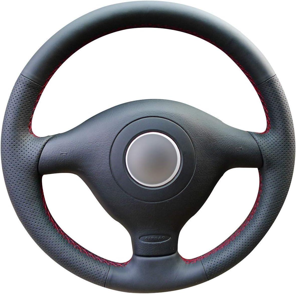 Funda para volante de coche de piel negra brillante para Volkswagen VW Golf 4 Passat B5 1996-2003 Skoda Fabia RS 2003 Polo 1999-2002 Seat Leon ...