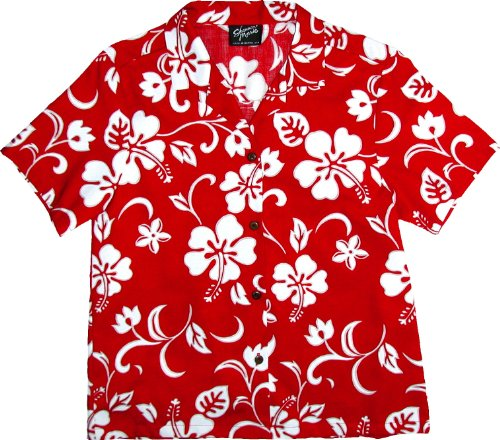 RJC Womens Classic Hibiscus Camp Shirt in Red – 3X Plus