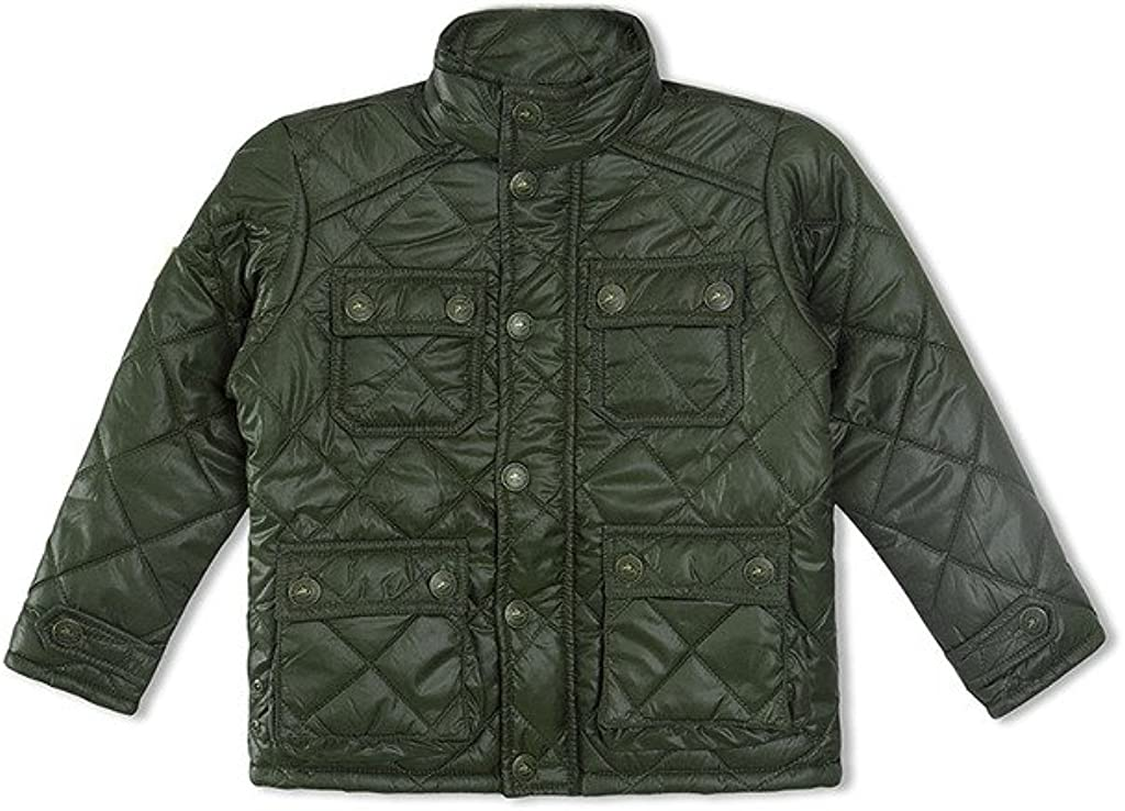 Cherry Crumble California Kids Boys Quilted Polyester Regular Fit Winter Jacket Olive Green, 9-12 Months