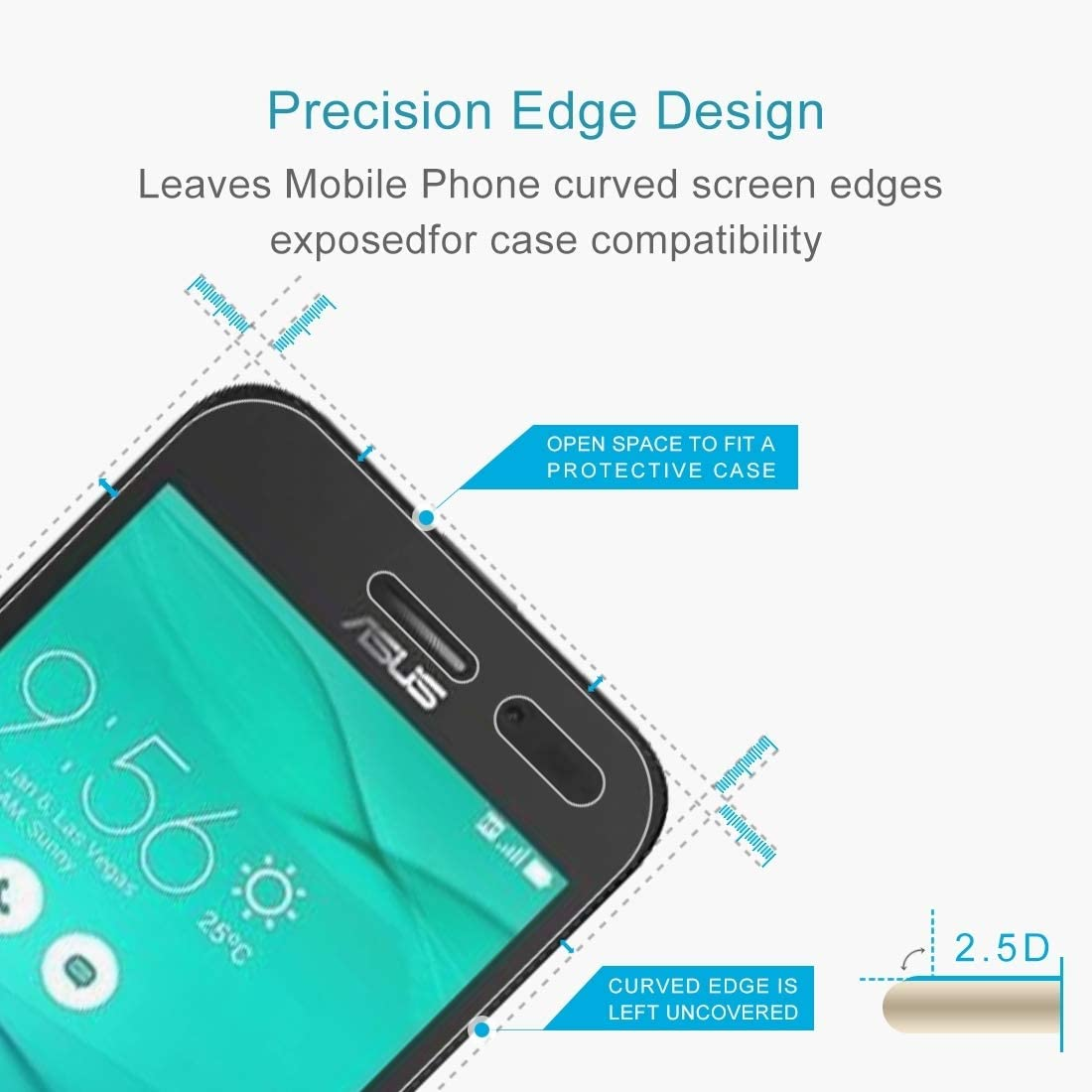 Yangmeijuan Phone Tempered Glass Film 100 PCS 0.26mm 9H 2.5D Tempered Glass Film for Asus ZenFone Go ZB452KG
