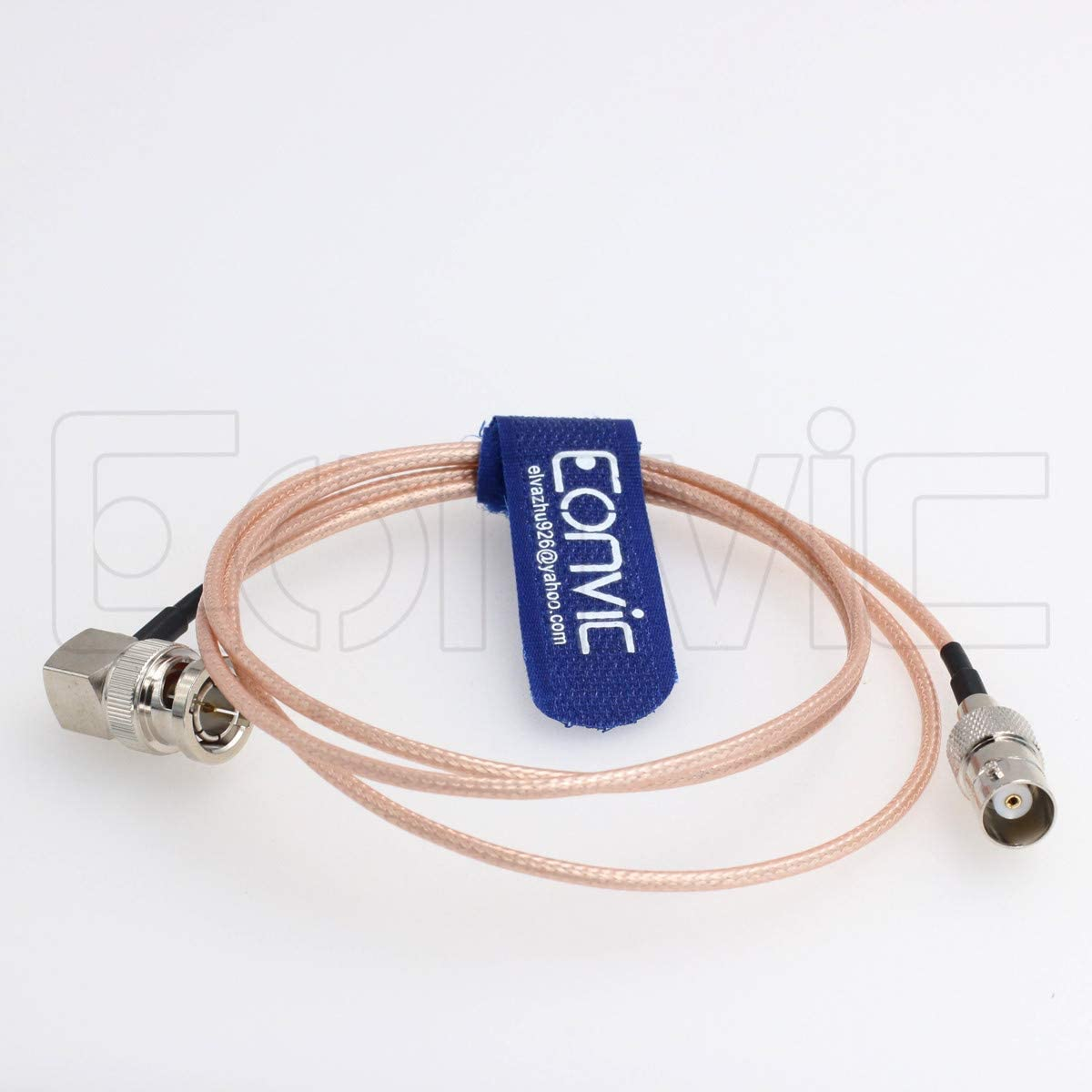 Eonvic Ultrathin Flexible Right Male to Straight Female 75 Ohm RG179 BNC Cable 1M
