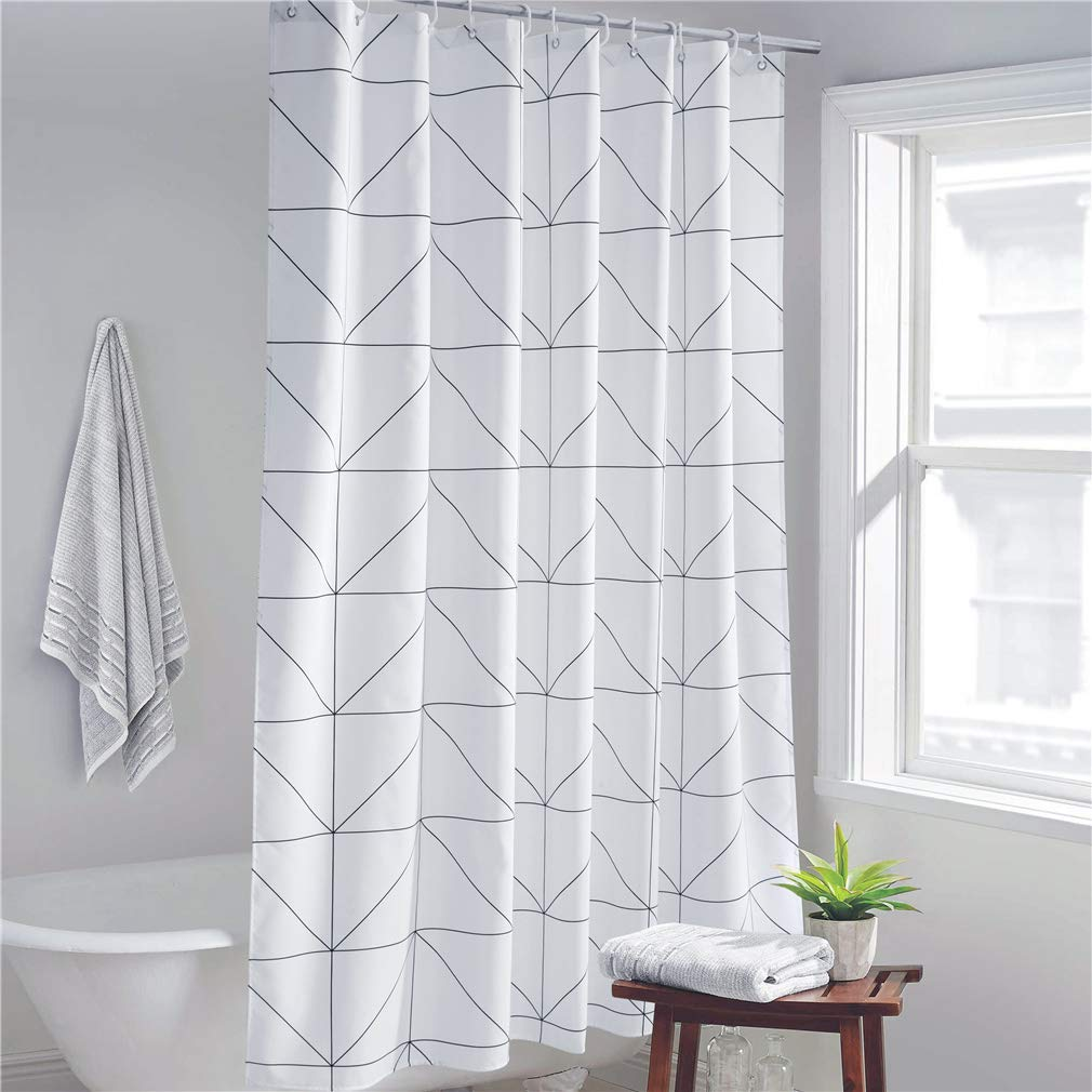 ZhongTian Simple Geometric Print Shower Curtain Polyester Shower Curtain for Hotel Triangle 72inch