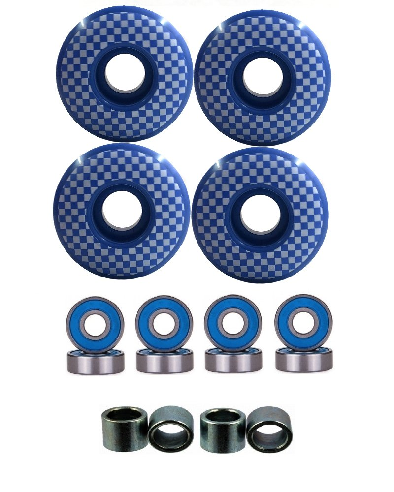Everland 52mm Wheels w/Bearings & Spacers (Blue Checker) by Everland
