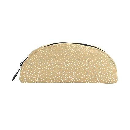 Malpleda - Estuche de piel para bolígrafos (diseño de lunares, color dorado): Amazon.es: Oficina y papelería