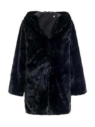 7076144b268b BerryGo Women's Casual Hooded Faux Fur Coat Shaggy Oversized Outwear Jackets  Black,S