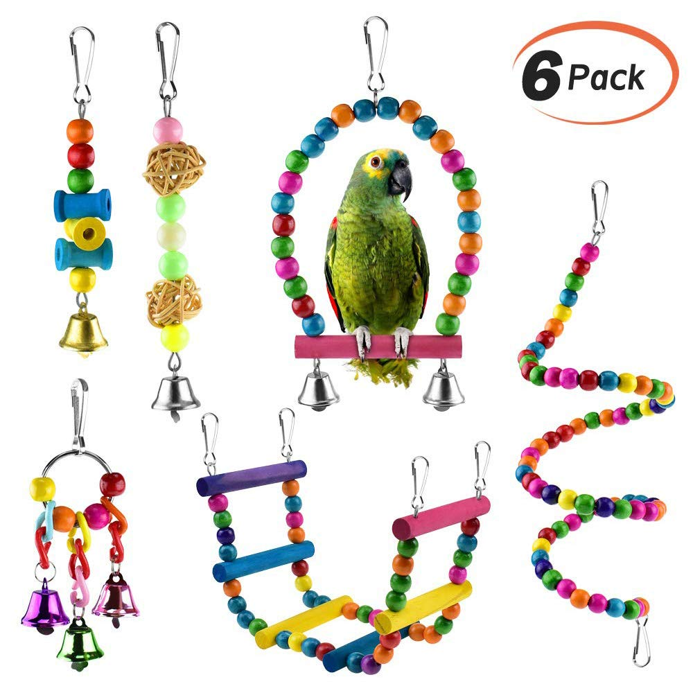 Li-HIM Large and Small Parrot Toy, Parrot Hammock Bell Toys Pet Bird Cage Hammock Swing Toy Hanging Bell Beaks Toy for Small Budgie 6 Pcs by Li-HIM