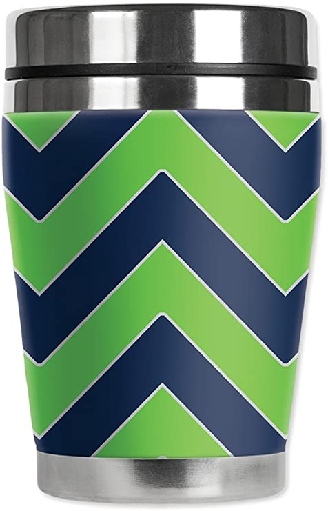 Mugzie brand 16-Ounce Travel Mug with Insulated Wetsuit Cover New Footballs
