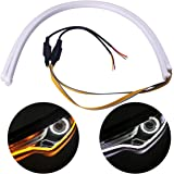 2Pcs 24 Inches Dual Color White/Sequence Amber LED Strip Tube, YANF Car Flexible Daytime Running Lights DRL Switchback Headlight Decorative Lamp and Flowing Turn Signal Light