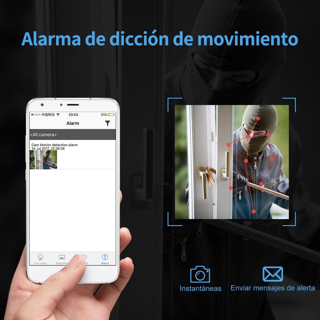 Espía Cámara Oculta AOBO Mini Cámara 1080P HD Portátil Interior/Exterior WiFi Cámara IP Seguridad Casa Oficina Vision Nocturna Cámara Inalámbrica con ...