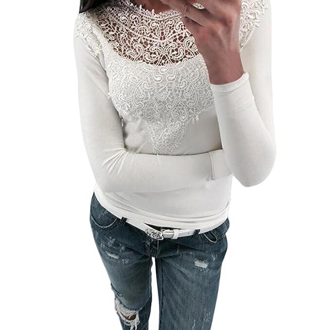 Yannerr mujer primavera semi transparente bordado encaje empalme casual manga larga básica inferior camiseta tops suéter