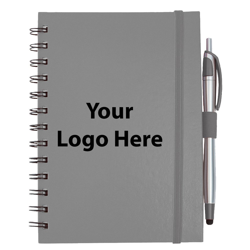 Inspiration Spiral with Pen Stylus - 100 Quantity - $3.45 Each - PROMOTIONAL PRODUCT / BULK / BRANDED with YOUR LOGO / CUSTOMIZED