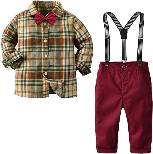 Nwada Ropa Niño Disfraz Bautizo Conjunto Primavera Traje Verano Esmoquin Pascua Camisa y Tirantes Pantalones y Corbata 1 a 7 Años: Amazon.es: Ropa y accesorios