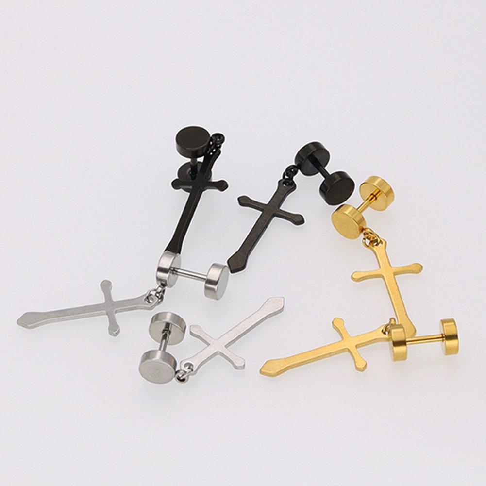 ink2055 Fashion Men Women Girl Dumbbell Cross Charm Earring for Girl Titanium Steel Stud Earrings Gift
