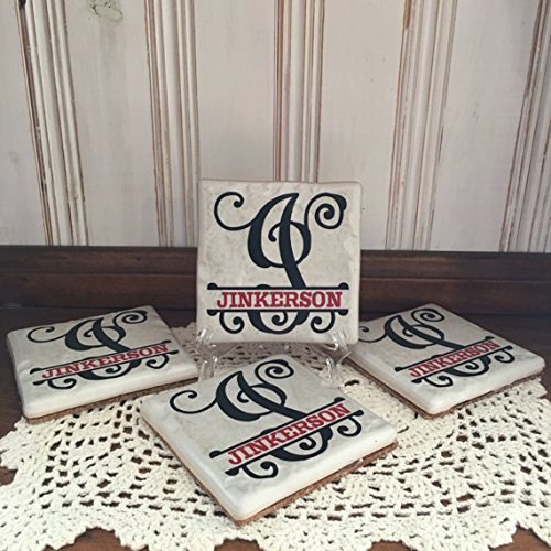 Set of 4 Personalized Split Monogram with Red Name White Stone 4 x 4 Tile Coasters Wedding / Anniversary Gift