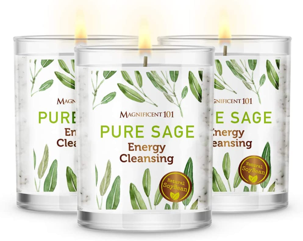 MAGNIFICENT101 Pure Sage Smudge Set of 3 Candles for House Energy Cleansing, Banish Negative Energy I Purification and Chakra Healing - Natural Soy Wax Candles for Aromatherapy (Pure Sage): Home Improvement