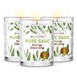 MAGNIFICENT101 Pure Sage Smudge Set of 3 Candles for House Energy Cleansing, Banish Negative Energy I Purification and…