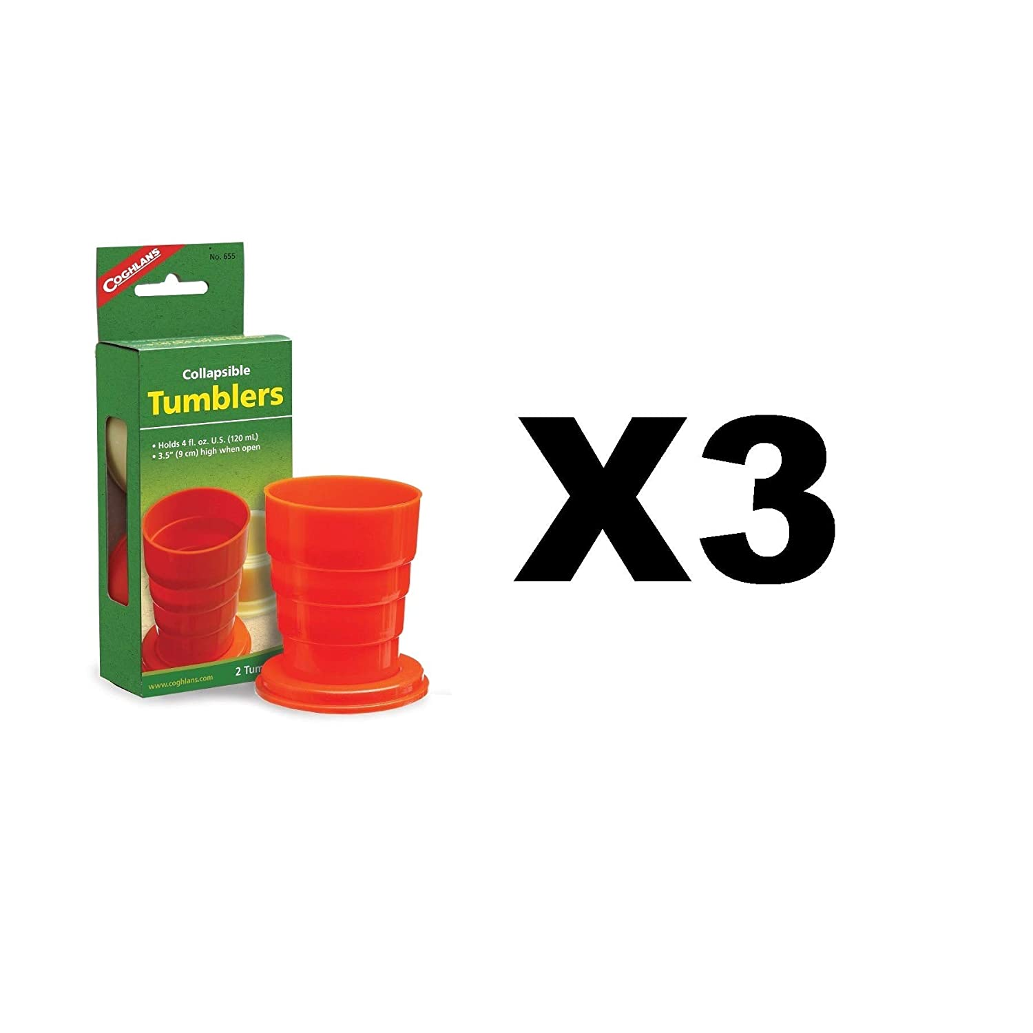 Coghlan 's Collapsible Tumblers強力カラフルプラスチックキャンプ( 3 - Pack of 2 ) B01MXYCAQ9