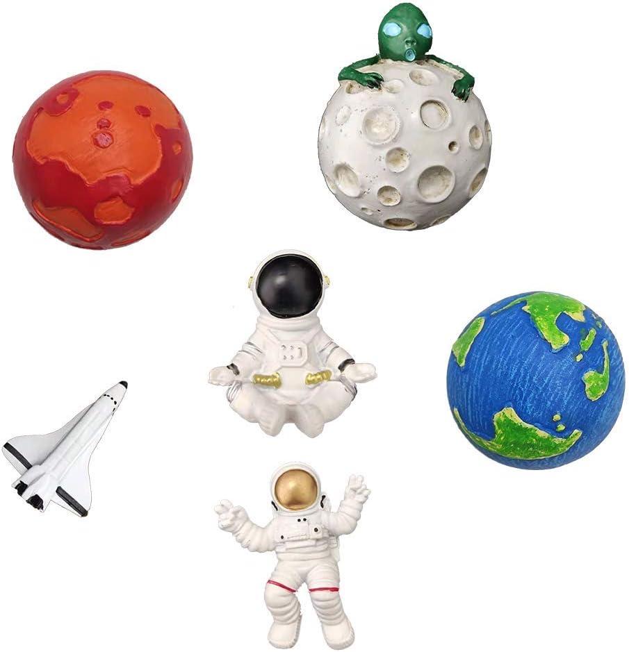 Fridge Magnet, Space Series Astronaut, Space Shuttle, Earth, Moon, Mars Fridge whiteboard Magnet, Creative Photo Sticker, Resin Wall Decors Planet Set Decor 6Pcs