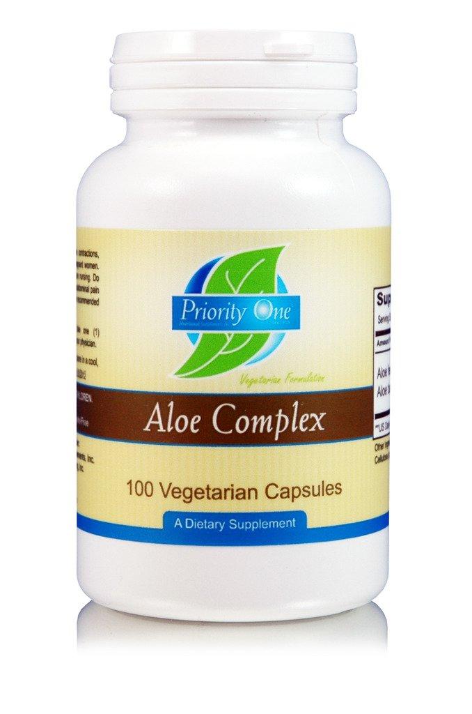 Priority One Vitamins Aloe Complex 100 Vegetarian Capsules Wild Crafted Cape Aloe (Aloe ferox) and a 200:1 Leaf Gum Extract of Aloe Vera
