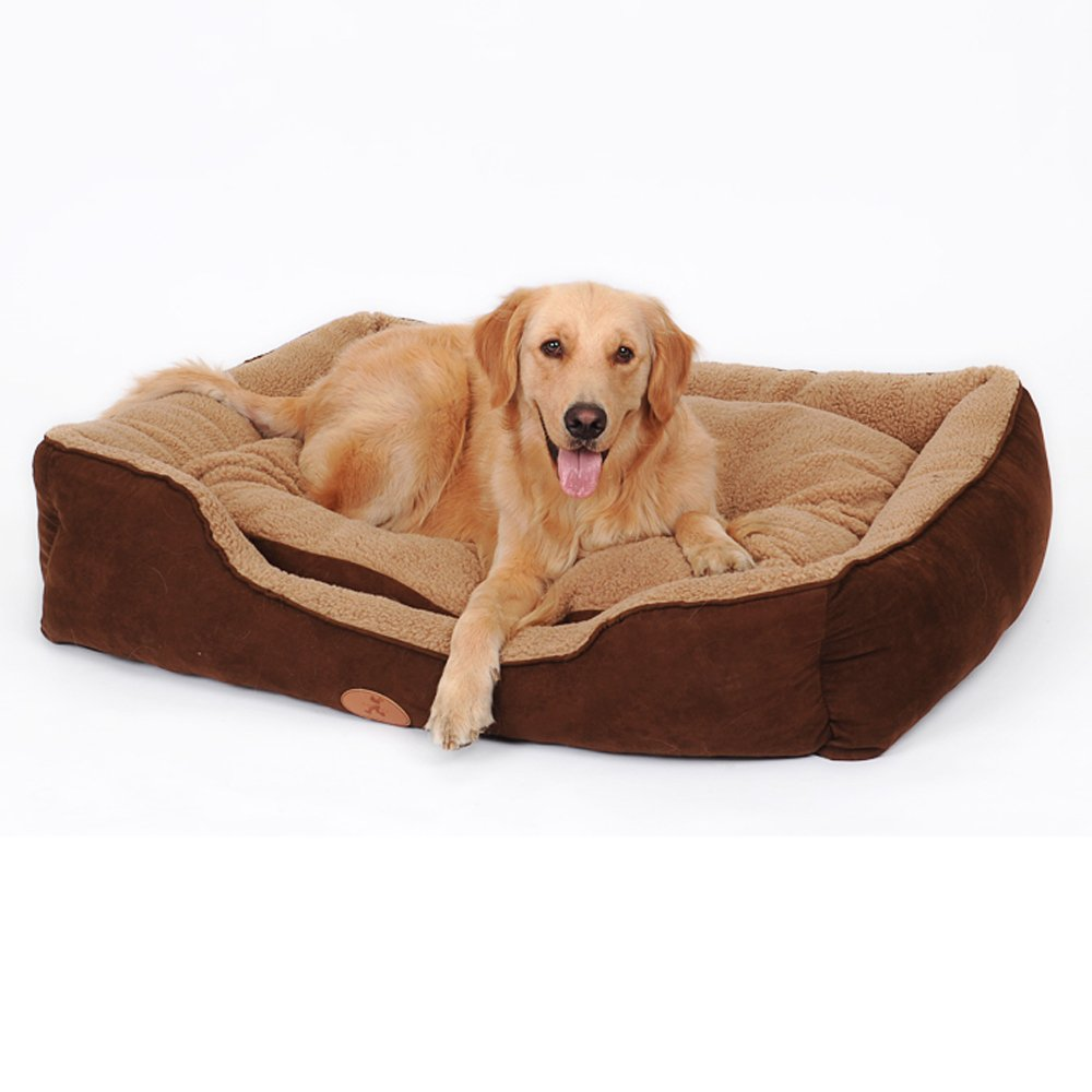 Brown L61W48H18cm 24197in Brown L61W48H18cm 24197in LDFN Kennel Dog Bed Medium Large Dogs Pet Winter Warm Supplies Pet Nest,Brown-L61W48H18cm 24197in