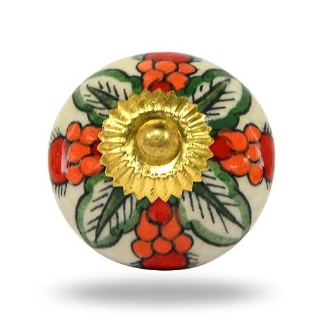 Trinca-Ferro - Pomo granada de cerámica con accesorios de latón envejecido