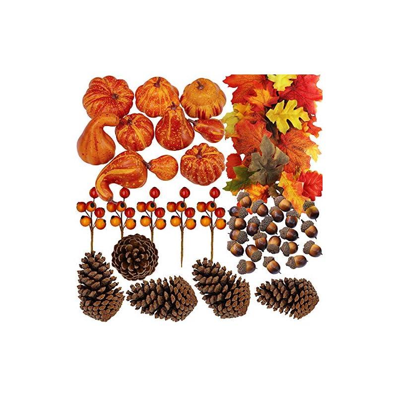 silk flower arrangements winlyn 110 pcs artificial autumn gourds, mini pumpkins, pine cones, leaves, acorns and berries fall decorating kit thanksgiving halloween party decor
