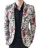 OUYE Men's Red Black Rose Print Casual Blazer XX-Large