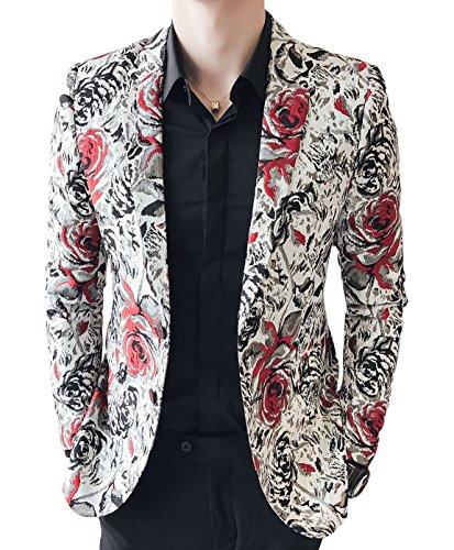 [해외]OUYE 남성 레드 블랙 로즈 프린트 캐주얼 블레이저 / OUYE Men`s Red Black Rose Print Casual Blazer