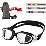 Focevi Swimming Goggles for Men/Women, Polarized Anti-Glare Anti-Fog UV Protection Mirrored Wide Vision Adult Swim…
