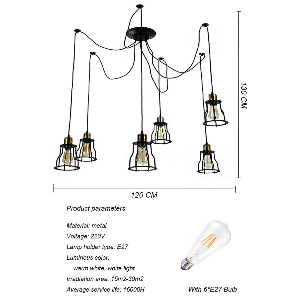 NANGE Vintage Chandelier,Edison Multiple Adjustable DIY Metal Wire Cage Pendant Lighting,Modern Chic Industrial Dining Light,E27(Without Light Source) (Color : Warm White, Size : AC 220V) by NANGE (Image #2)