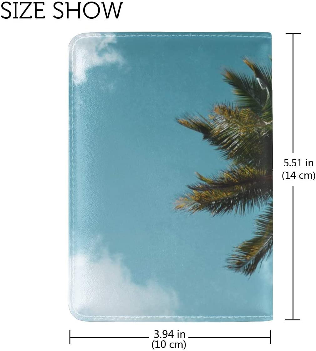 Palm Tree Tropics Leather Passport Holder Cover Case Travel One Pocket