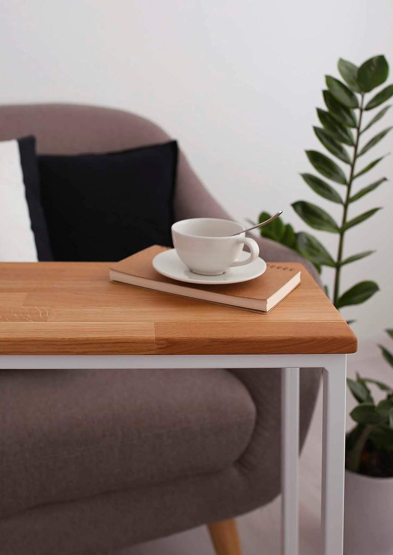 BestLoft/® Beistelltisch San Jose Laptoptisch Gestell schwarz+Platte hell MIT Baumkante