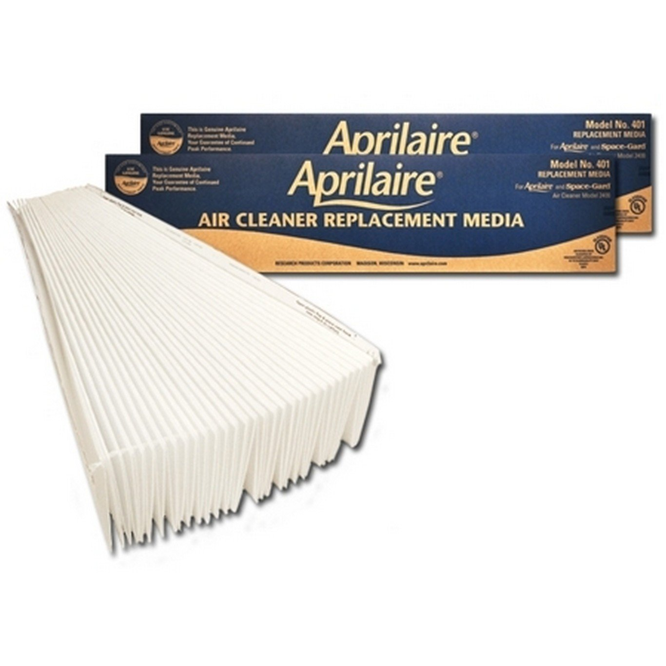 Aprilaire 401 Air Filter for Aprilaire Whole Home Air Purifier Models: 2400, Space-Gard 2400, MERV 10 (Pack of 2)
