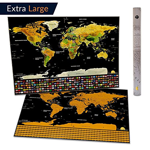 Extra Large Scratch Off World Map Poster. Detailed Design and Vibrant Colors, Amazing Gift for Travellers, with Flags and US States Outlined. Perfect for Home Decor (Large 32x23 Inches)