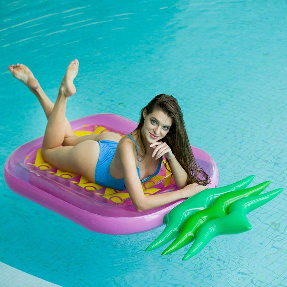 Purple Pineapple Twocolor Floating Row Inflatable Toys, Fashion Pineapple Large Swimming Ring Lifebuoy Floating Bed Water Float Toys  180  90  20cm