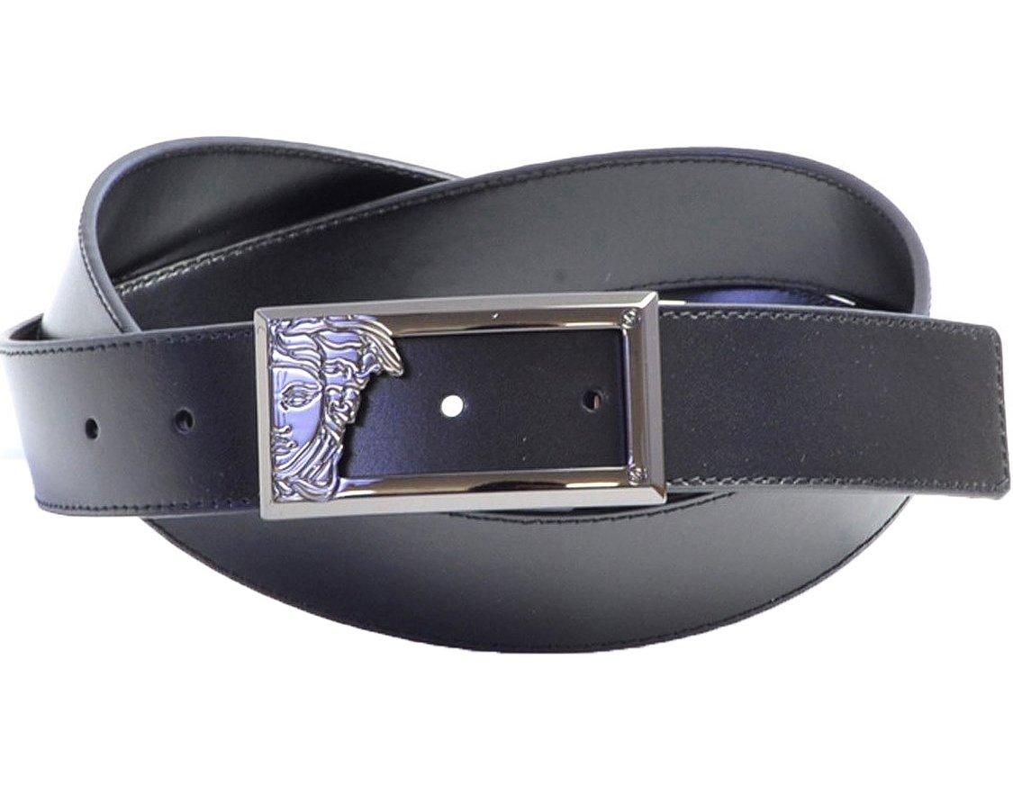 Versace Collection Men's Black Leather Half Medusa Adjustable Belt 200