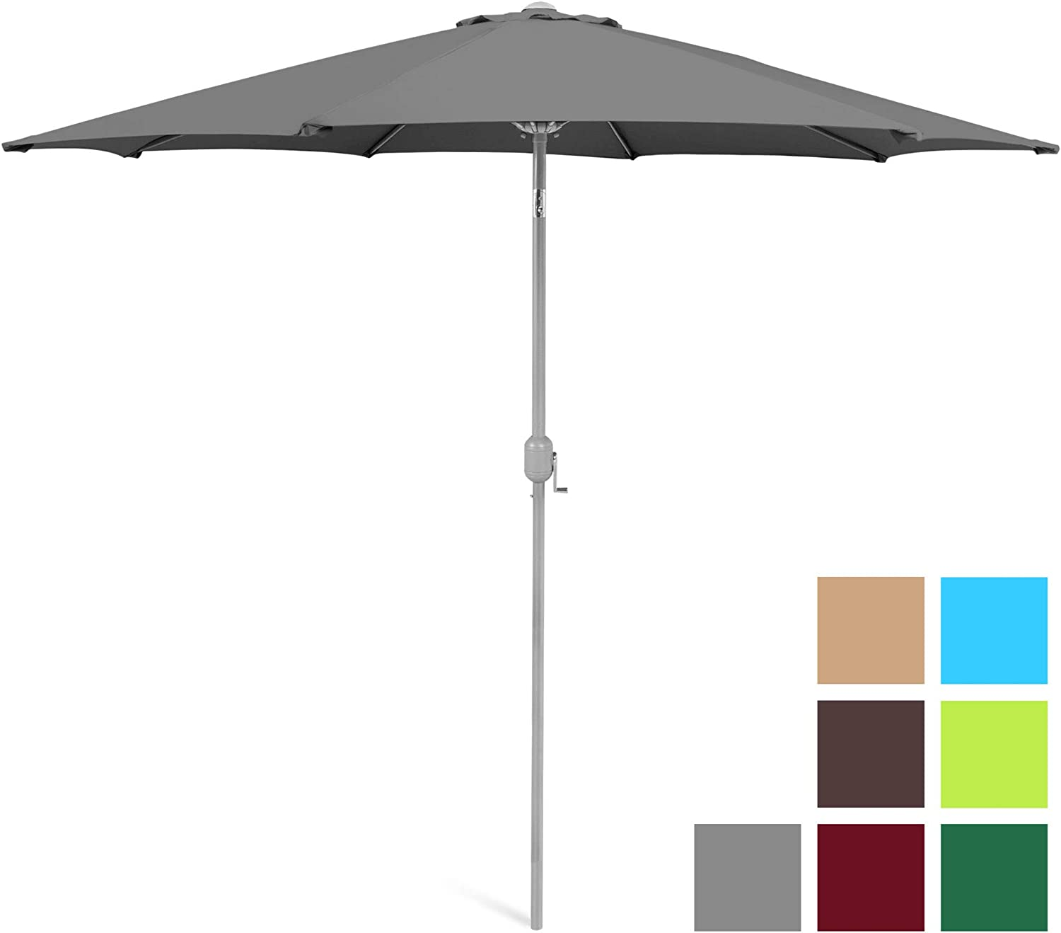 Best Choice Products 9ft Outdoor Market Patio Umbrella w Crank Tilt Adjustment, Wind Vent, 1.5in Diameter Pole – Gray