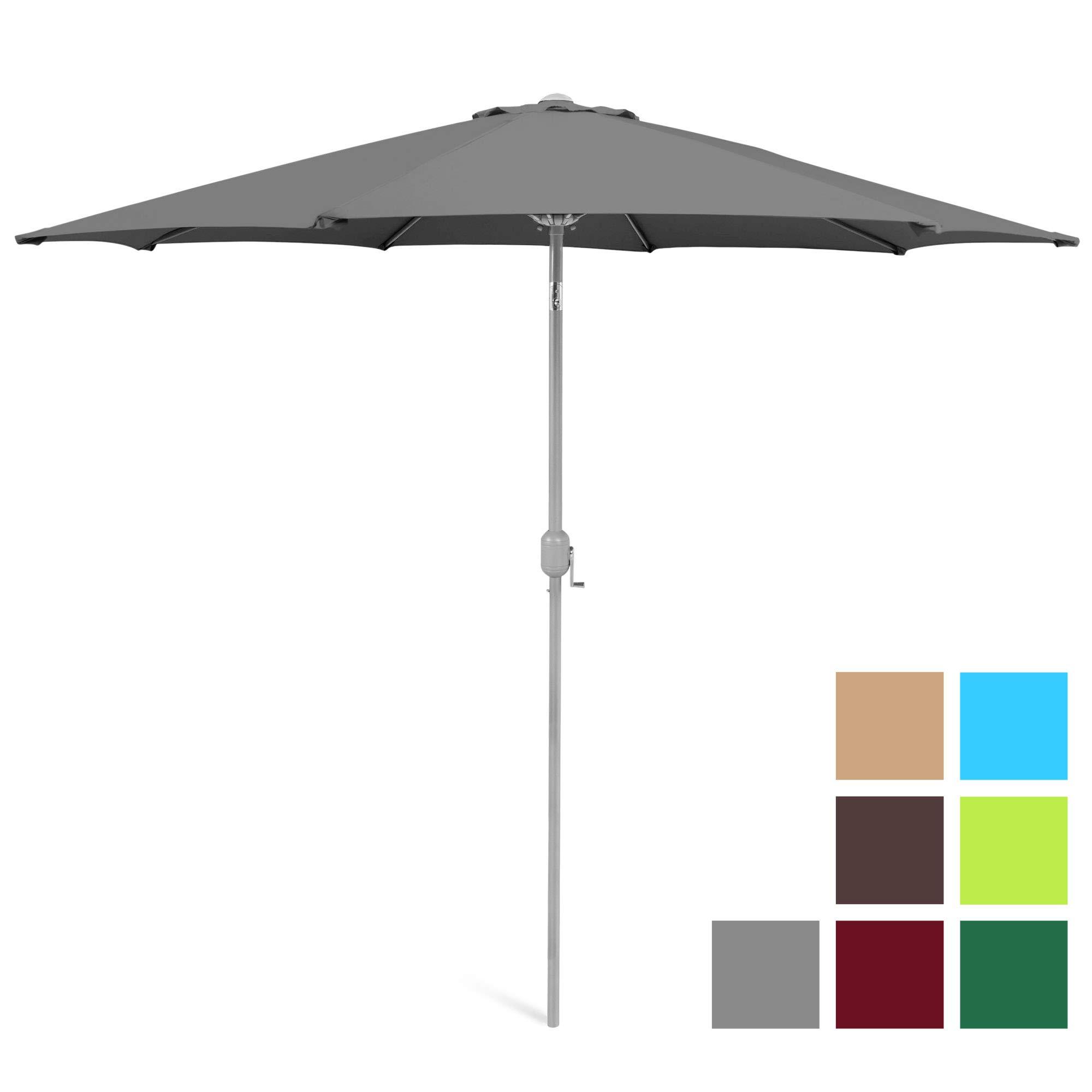 Best Choice Products 9ft Outdoor Water/UV-Resistant Market Patio Umbrella w/Crank Tilt Adjustment, 180G Polyester, Wind Vent, 1.5in Diameter Aluminum Pole - Gray
