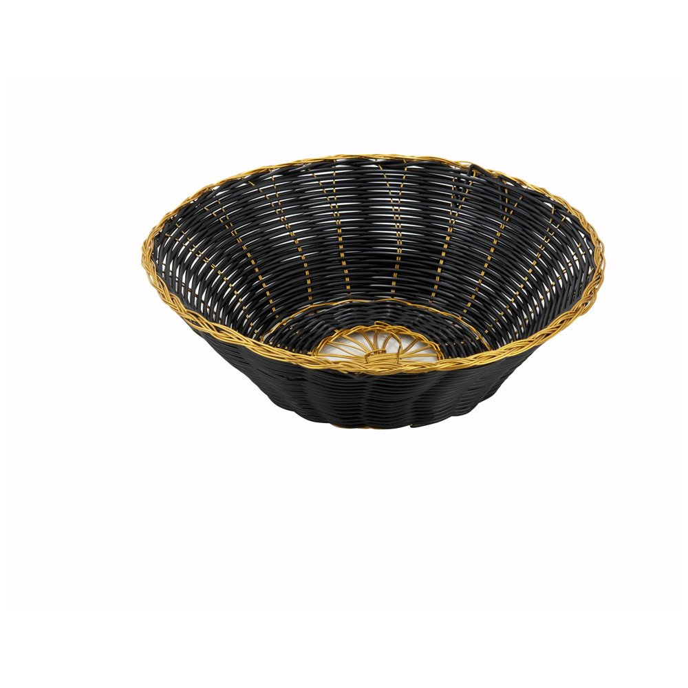 Winco PWBK-8R, 8x3-Inch Black Round Poly Woven Basket With Gold Trim, Tabletop Serving Bread Snacks Baskets, 1 Dozen Pack