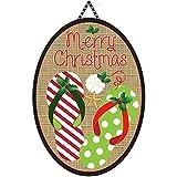 Merry Christmas Burlap Patterned Flip Flops 13 x 18 Oval Ribbon Door Banner